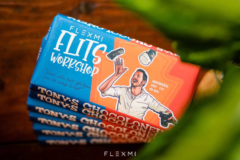 Tonys Chocolonely FLEXMI chocolade reep met een eigen wikkel