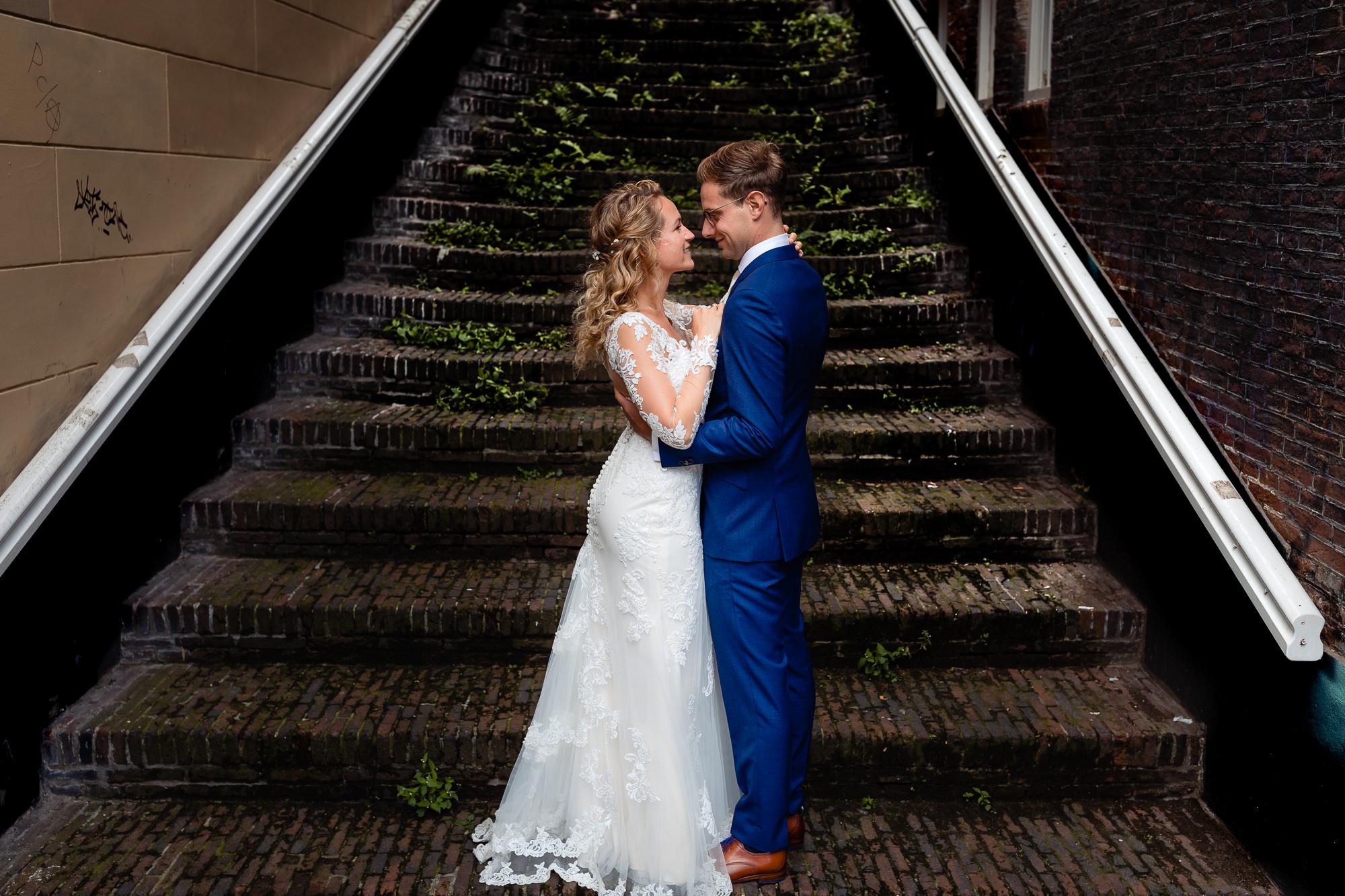 Bruiloft fotoshoot midden in utrecht