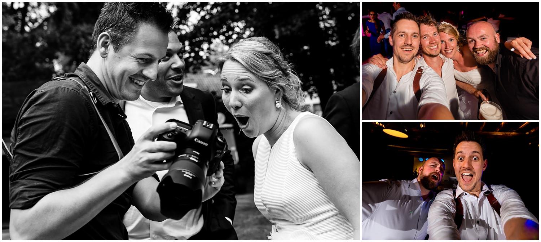 Collage van een bruidsfotograaf aan het werk